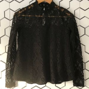 Abercrombie & Fitch Long Sleeve, High Collar Lace